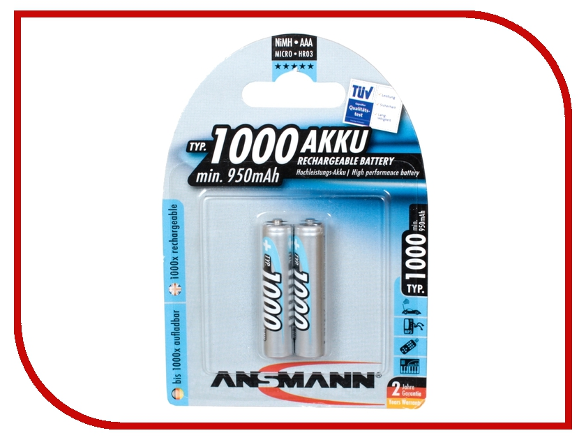 Аккумулятор AAA - Ansmann R03 1000 mAh Ni-MH (2 штуки) 5030892 rechargeable 3 6v aaa 800mah ni mh battery pack
