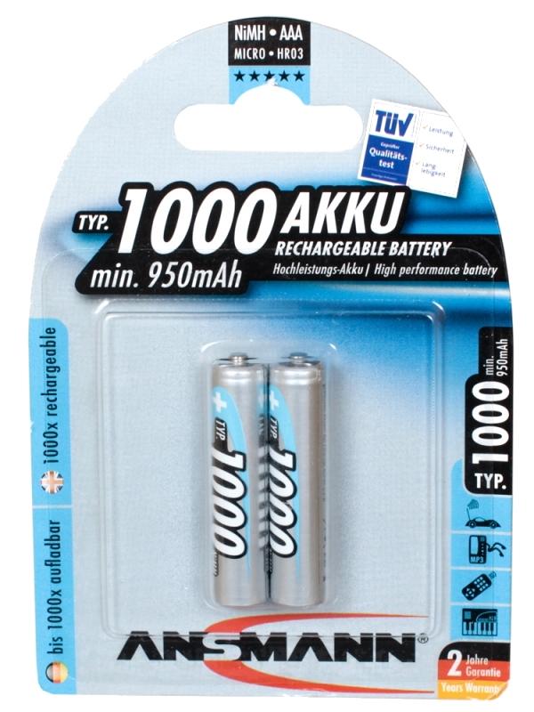 Аккумулятор AAA - Ansmann R03 1000 mAh Ni-MH (2 штуки) 5030892 аккумулятор aaa panasonic eneloop 750 mah ni mh 4 штуки bk 4mccec4be с кейсом
