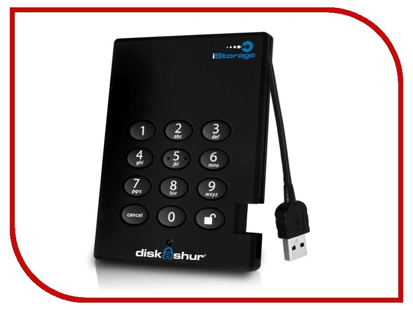 Жесткий диск iStorage DiskAshur 1Tb USB 3.0 256-bit IS-DG3-256-1000<br>