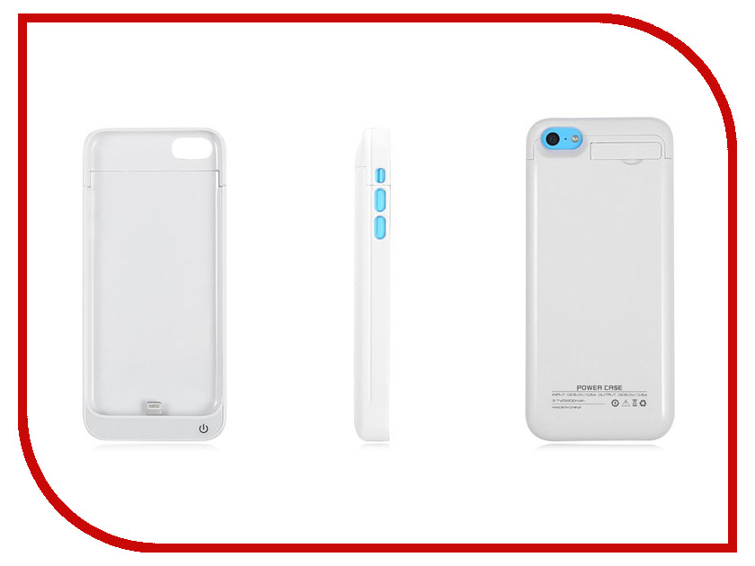Аксессуар Аккумулятор-чехол Ainy для iPhone 5 2500 mAh White<br>
