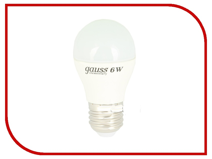 Лампочка Gauss Elementary 6W E27 220V 4100K LD53226<br>
