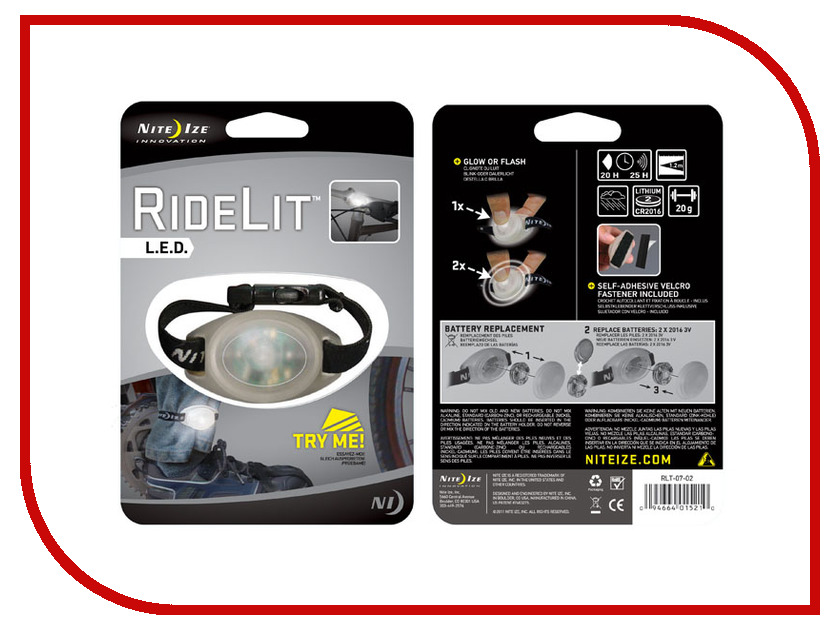 Аксессуар Светодиодный маркер Nite Ize RideLit RLT-07-10 Red<br>