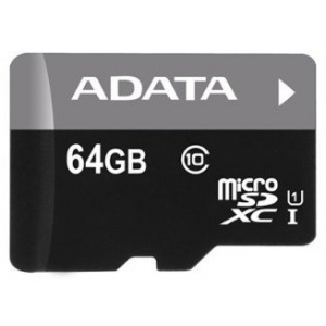 Карта памяти 64Gb - A-Data Premier Micro Secure Digital XC Class 10 UHS-I U1 AUSDX64GUICL10-R