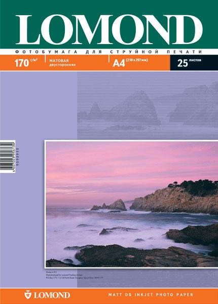 Фотобумага Lomond A4 170g/m2 матовая двухстороняя 102006 цена