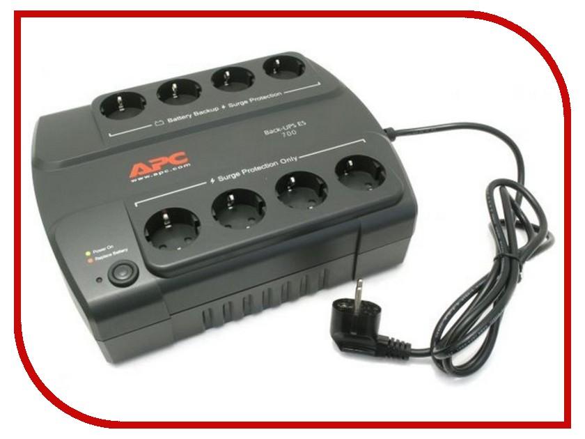 Источник бесперебойного питания APC Back-UPS ES 700VA 405W BE700G-RS источник бесперебойного питания apc back ups bc650 rsx761 bc650 rsx761