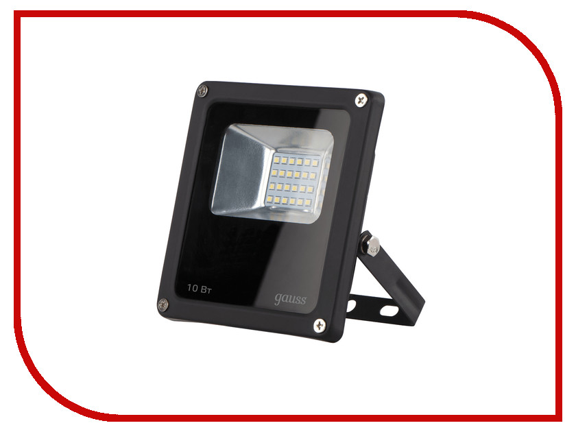 Прожектор Gauss LED 10W IP65 6500К Black 613100310 portable led floodlight 10w rechargeable ip65 waterproof outdoor lantern hand led light for camping fishing work emergency lamps