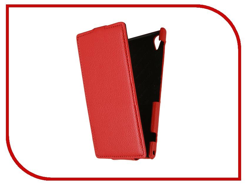 Аксессуар Чехол Aksberry for Sony Xperia Z1 кожаный Red<br>