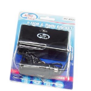 Аксессуар Разветвитель прикуривателя на 2 гнезда и 2 USB Autovirazh AV-4002 от Pleer