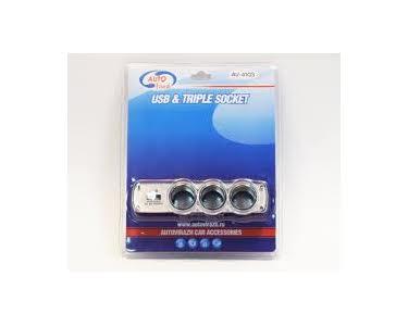 Аксессуар Разветвитель прикуривателя на 3 гнезда и 1 USB Autovirazh AV-4103 от Pleer