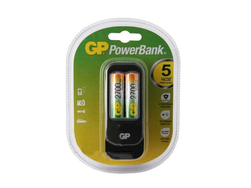 Зарядное устройство GP PowerBank 560GS + 2 ак. AA 2700 mAh (PB560GS270-2CR2)<br>