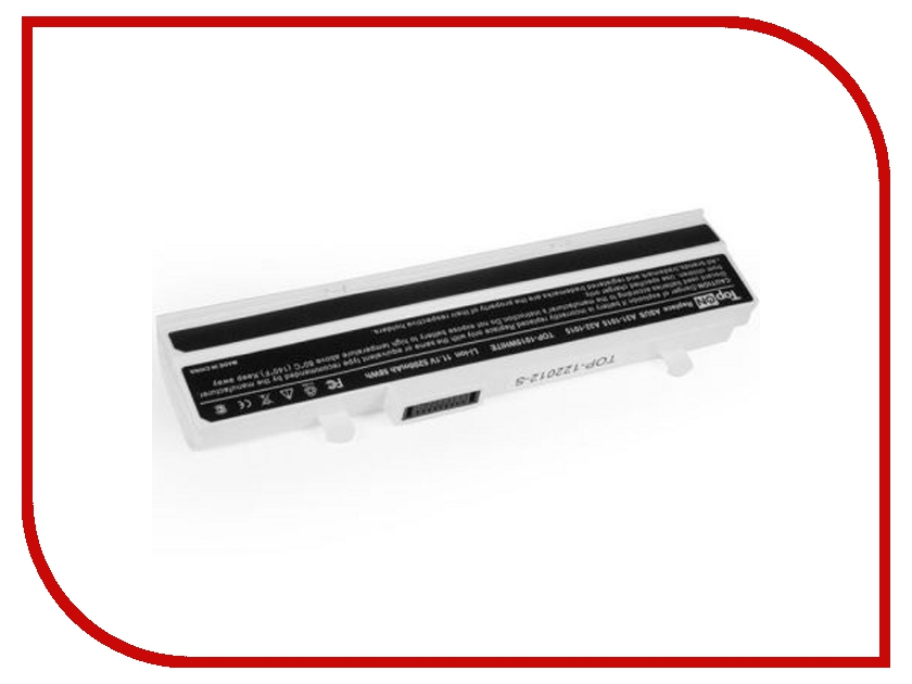 Аккумулятор TopON TOP-1015 WHITE 11.1V 5200mAh White for ASUS eee PC 1015PE/1015PD/1015PED/1015PN/1015PW/1015T/1015B/1016/1215N/1215P/1215T/VX6 Series<br>
