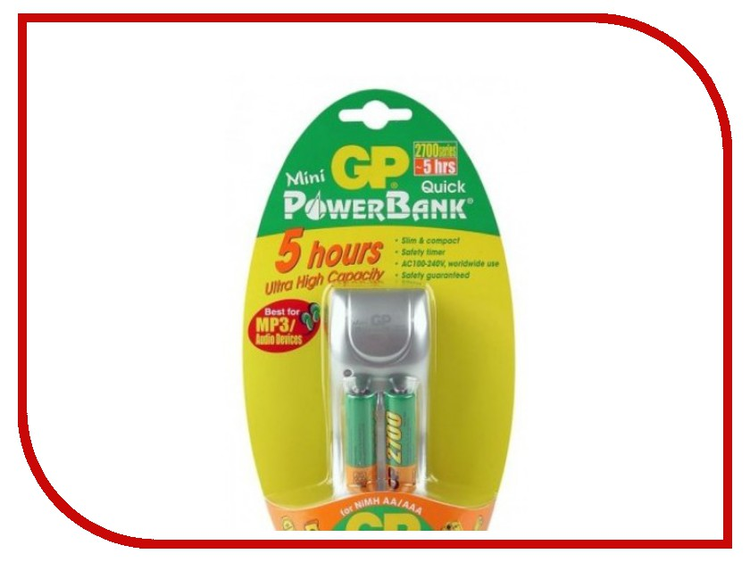 Зарядное устройство GP PowerBank Mini Quick + 2 ак. AA 2700 mAh (PB25GS270-U2/2CR2)<br>