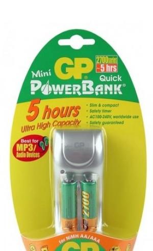 Зарядное устройство GP PowerBank Mini Quick + 2 ак. AA 2700 mAh (PB25GS270-U2/2CR2)<br>