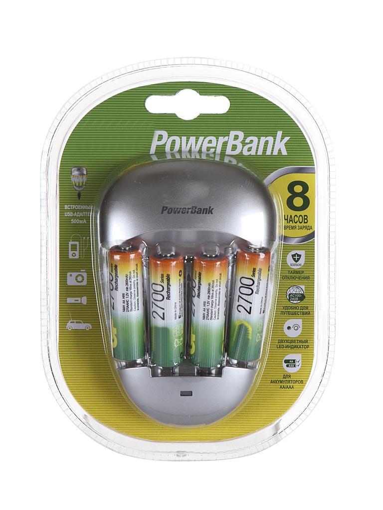 Зарядное устройство GP PowerBank Quick 3 + 4 ак. AA 2700 mAh PB27GS270-2CR4 цена и фото