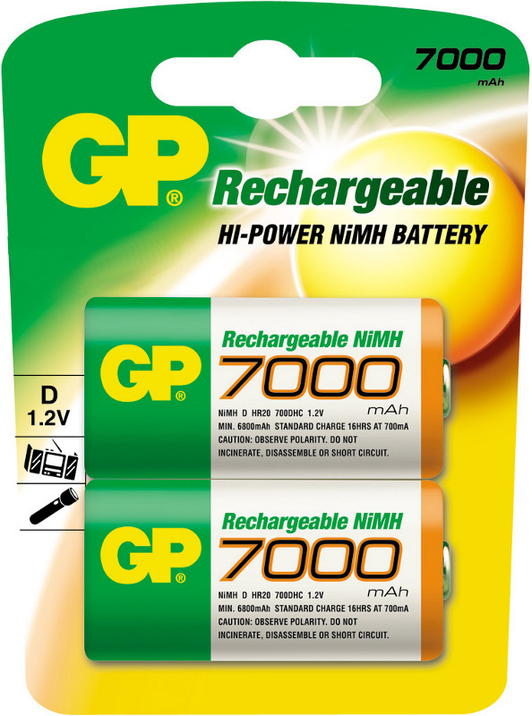 Аккумулятор D - GP R20 GP700DHC-2CR2 7000 mAh Ni-MH (2 штуки)