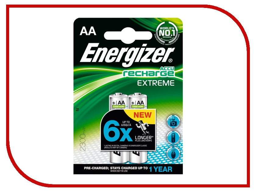 Аккумулятор AA - Energizer Rech Extreme FSB4 2300 mAh Ni-MH (4 штуки) bty cm01 rechargeable 1 2v 2300mah aa ni mh batteries w plastic battery case green gold 4 pcs