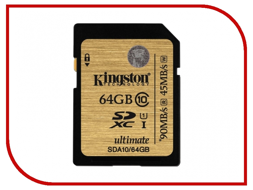 Карта памяти 64Gb - Kingston - Secure Digital HC Ultimate UHS-I Class 10 SDA10/64GB kingston sda10 64gb sdhc 64гб class 10