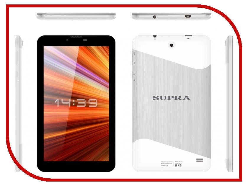 Планшет SUPRA M725G White-Silver MTK8312 1.2 GHz/512Mb/4Gb/Wi-Fi/3G/Bluetooth/Cam/7.0/1024x600/Android