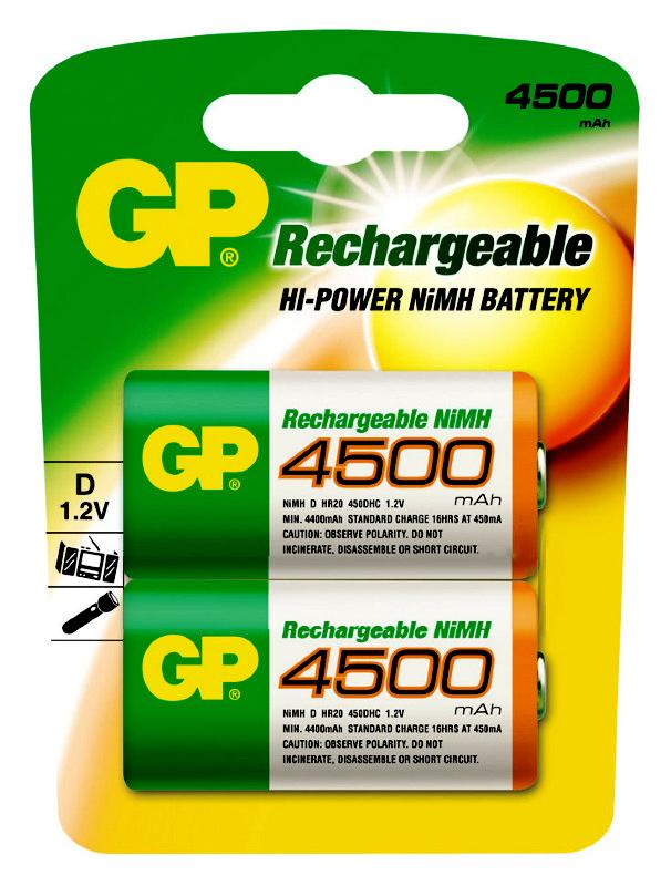 Аккумулятор D - GP R20 450DHC-2CR2 4500 mAh Ni-MH (2 штуки)