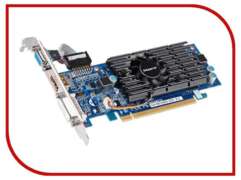 Видеокарта GigaByte GeForce GT 210 590Mhz PCI-E 2.0 1024Mb 1200Mhz 64 bit DVI HDMI HDCP GV-N210D3-1GI gigabyte gigabyte gv n730d5oc 1gi 1006мгц 5000 1024мб