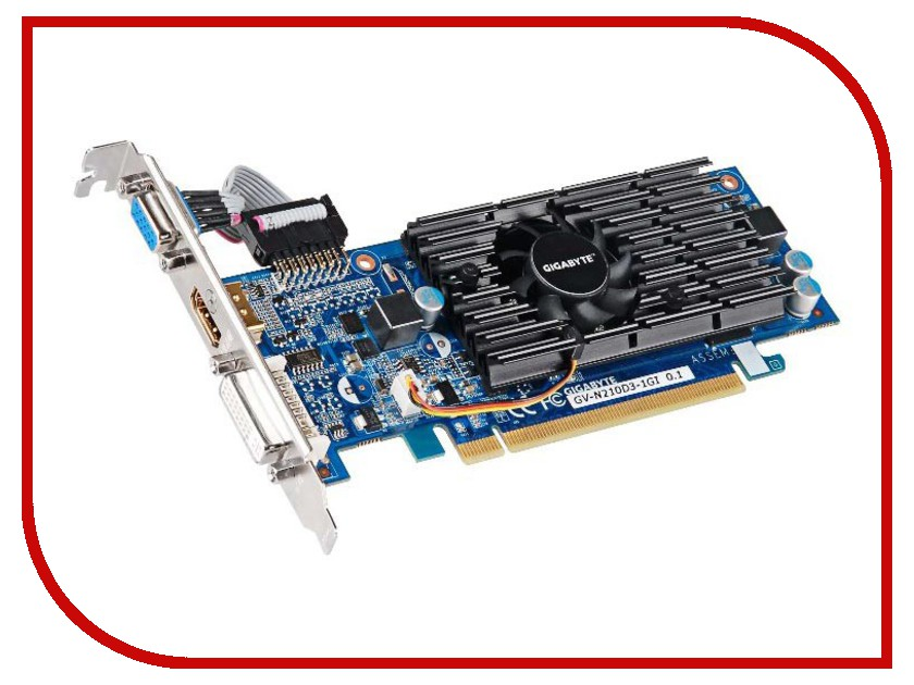 Видеокарты GeForce GT 210  Видеокарта GigaByte GeForce GT 210 590Mhz PCI-E 2.0 1024Mb 1200Mhz 64 bit DVI HDMI HDCP GV-N210D3-1GI