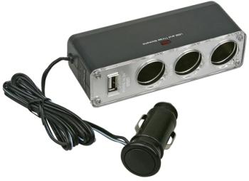 Аксессуар Разветвитель прикуривателя на 3 гнезда и 1 USB Нужные вещи WF-0120 от Pleer