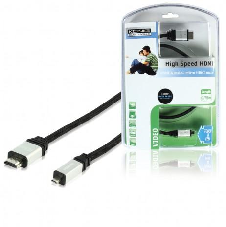 Аксессуар HQ HDMI-HDMI micro v1.4 0.75m CMP-CE130-0.75