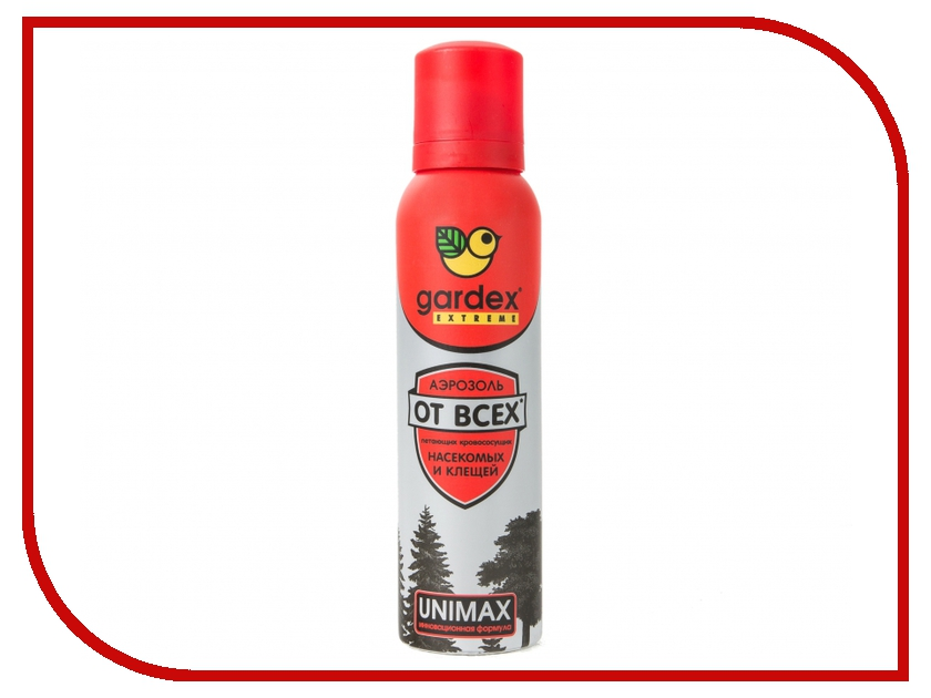 Средство защиты от клещей Gardex Extreme Аэрозоль-репеллент от всех летающих кровососущих насекомых и клещей 150мл