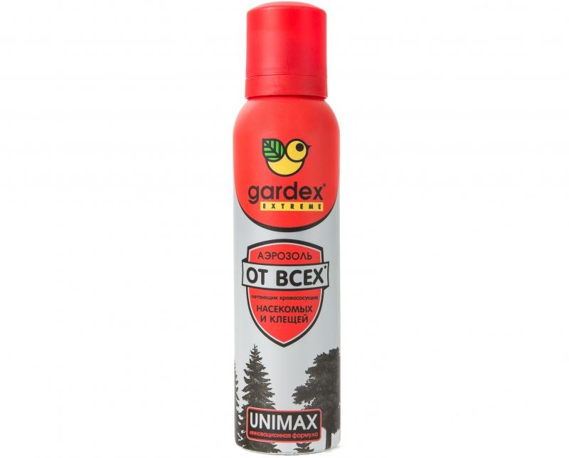 Средство защиты от клещей Gardex Extreme Аэрозоль-репеллент от всех летающих кровососущих насекомых 150мл.