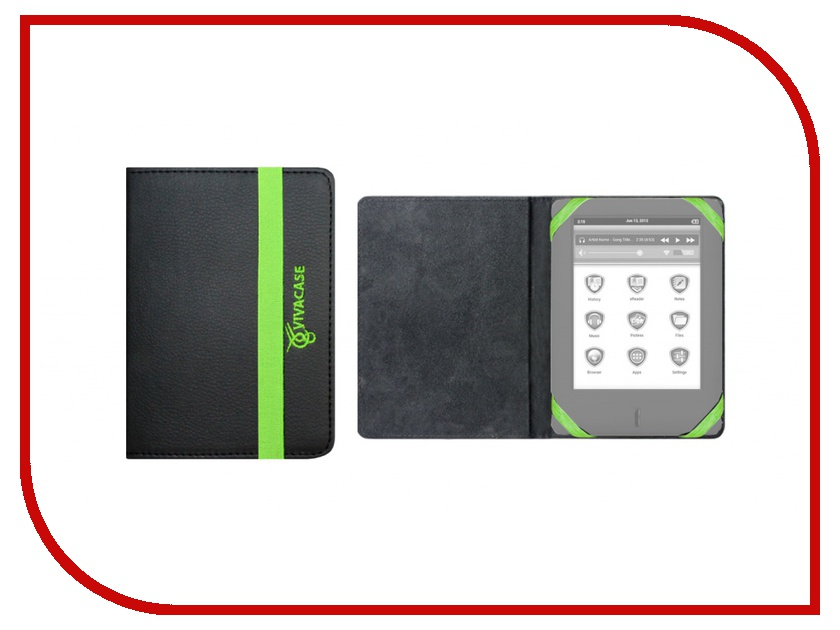 Аксессуар Чехол 6-7-inch Vivacase Neon универсальный Black-Green VUC-CN006-bg<br>