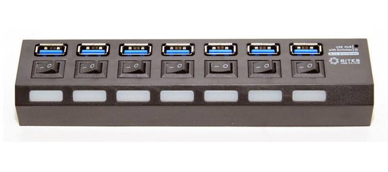 Хаб USB 5bites HB27-203PBK 7 ports Black
