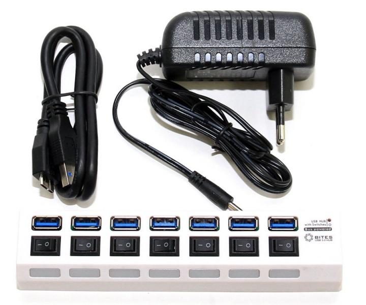 Хаб USB 5bites HB27-203PWH 7 ports White