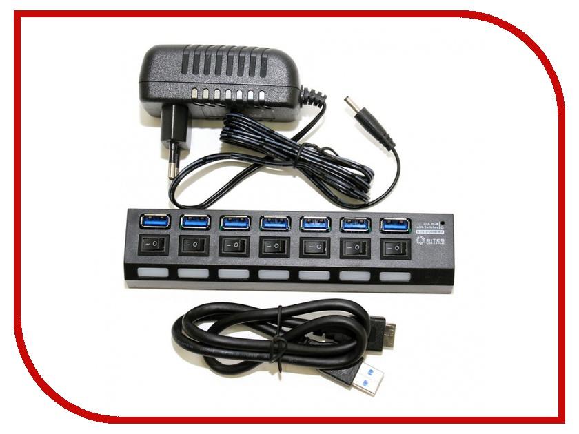 5bites HB37-303PBK USB 7 ports Black<br>