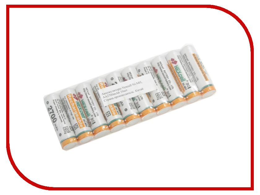 Аккумулятор AA - NEXcell 2700 mAh Ni-MH (10 штук) AA2700/10pack analong 2a aa rechargeable battery 1 2v aa2200mah ni mh pre charged rechargeable battery 2a baterias for camera