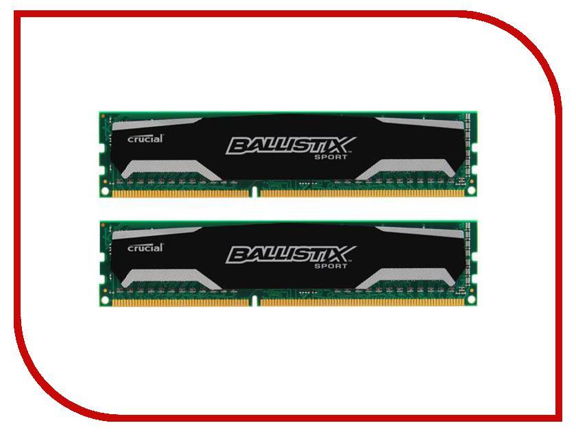 Модуль памяти Crucial Ballistix Sport DDR3 DIMM 1600MHz PC3-12800 CL9 - 8Gb KIT (2x4Gb) BLS2CP4G3D1609DS1S00CEU модуль памяти corsair xms3 ddr3 dimm 1600mhz pc3 12800 4gb cmx4gx3m1a1600c11