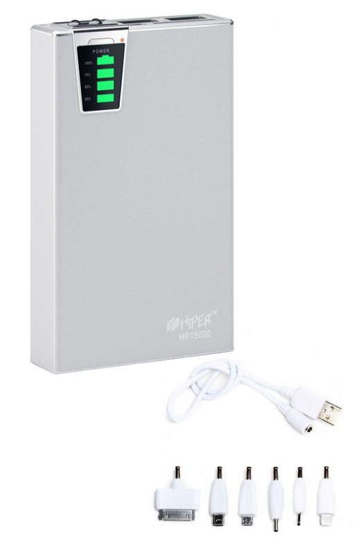 Аккумулятор HIPER Power Bank MP15000 15000 mAh Silver