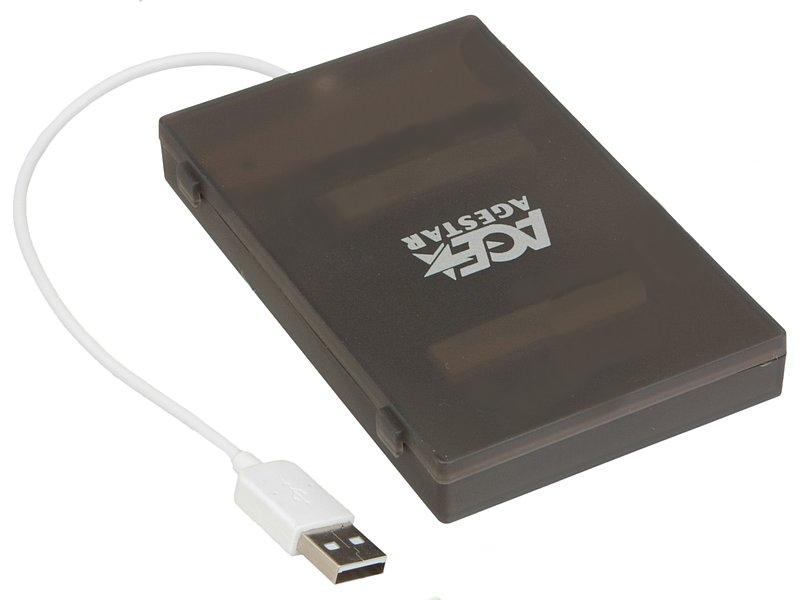 AgeStar SUBCP1 USB 2.0 SATA HDD/SSD Black мобил рек agestar 3ub2o8 usb 3 0 to 2 5hdd sata алюминий