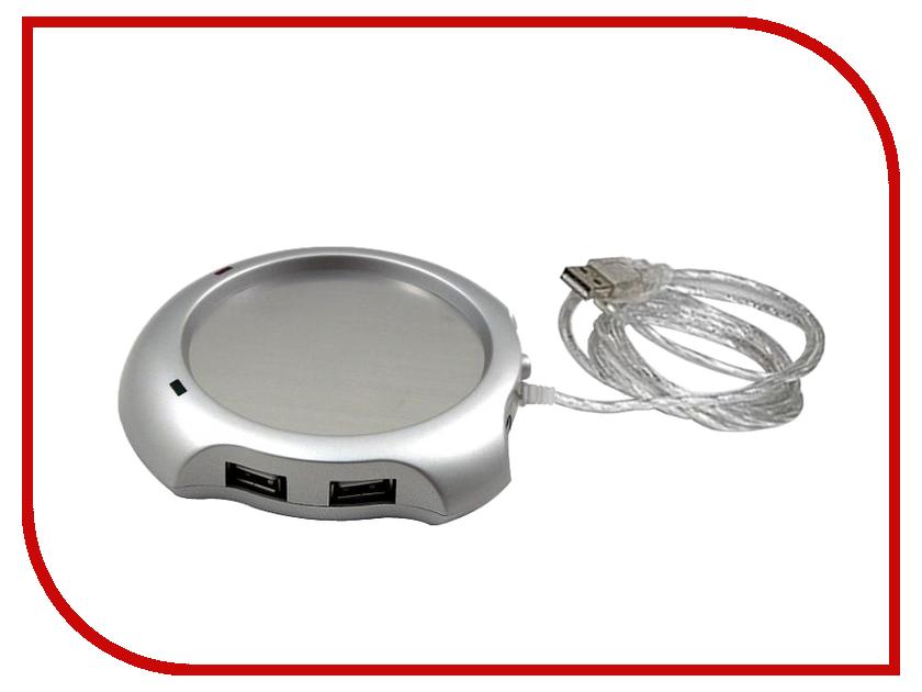 Подставка с подогревом Подставка под кружку с подогревом от USB Silver + HUB USB 2.0 NDWH-308<br>