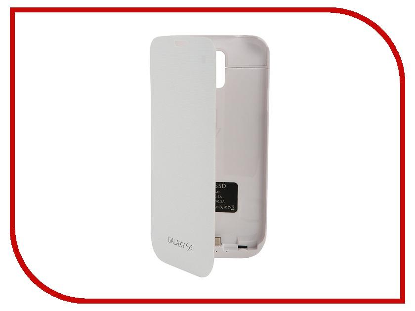 Аксессуар Аккумулятор-чехол Ainy for Samsung GT-i900F / GT-i9600 Galaxy S5 кожаный 4800 mAh White<br>