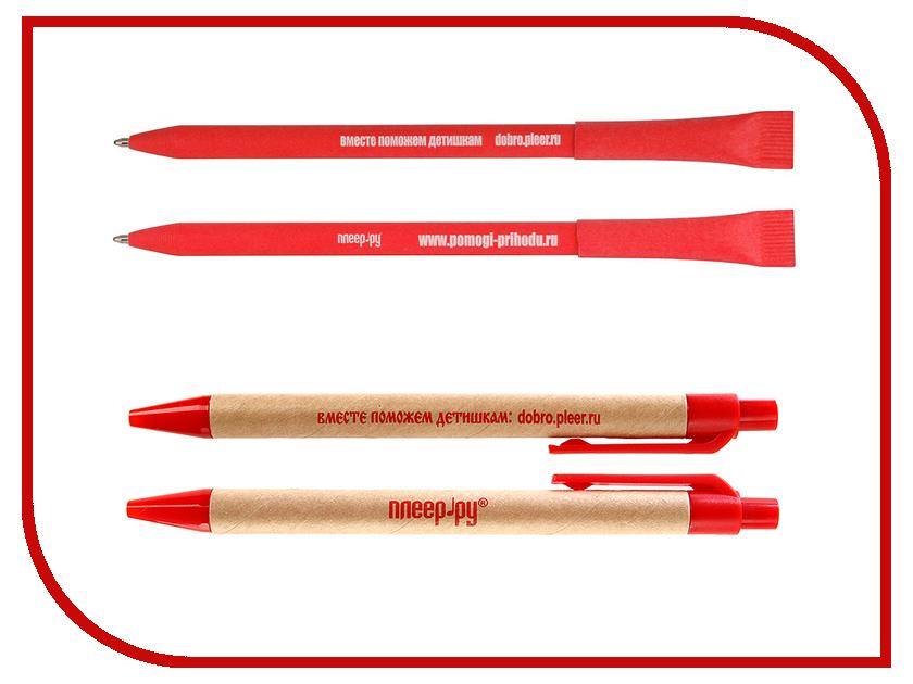 Благое дело Ручка экологическая =ВМЕСТЕ ПОМОЖЕМ ДЕТИШКАМ= Красная