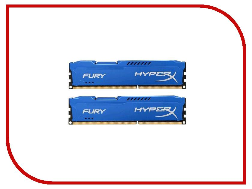Модуль памяти Kingston HyperX Fury Blue Series DDR3 DIMM 1866MHz PC3-15000 CL10 - 16Gb KIT (2x8Gb) HX318C10FK2/16 модуль памяти dimm 16gb 2x8gb kit ddr3 pc12800 1600mhz kingston hyperx fury black series hx316c10fbk2 16
