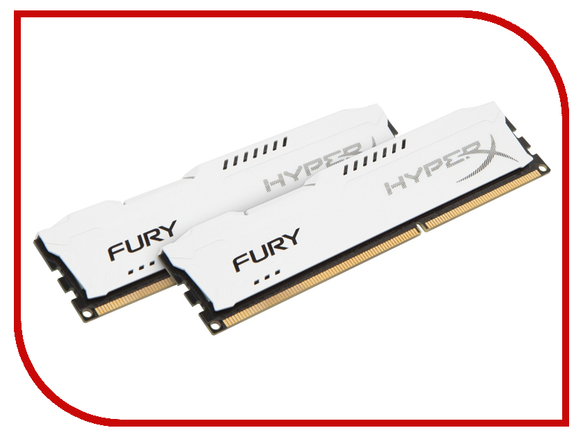 Модуль памяти Kingston HyperX Fury White Series PC3-15000 DIMM DDR3 1866MHz CL10 - 16Gb KIT (2x8Gb) HX318C10FWK2/16 ddr4 8gb kingston hyperx fury black