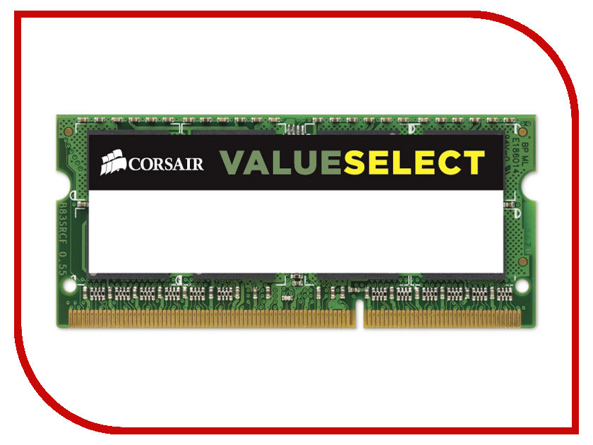 где купить Модуль памяти Corsair ValueSelect DDR3 SO-DIMM 1600MHz PC3-12800 - 4Gb CMSO4GX3M1A1600C11 дешево