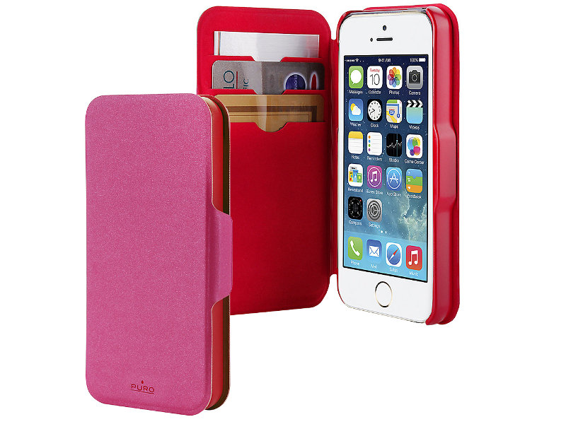 Аксессуар Чехол PURO for iPhone 5 / 5S Bi-Color Wallet Eco-Leather Cover Red-Pink IPC5WALLETPNK1