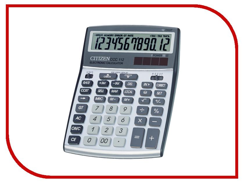 Калькулятор Citizen CCC-112WB Grey - двойное питание