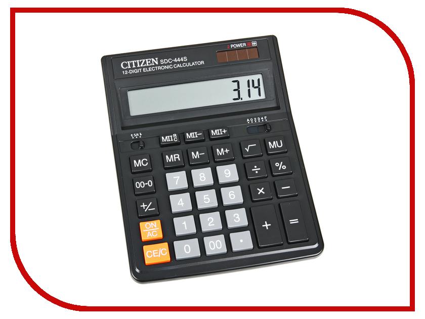 Калькулятор Citizen SDC-444S Black - двойное питание калькулятор citizen sdc 444s 12 разрядный черный