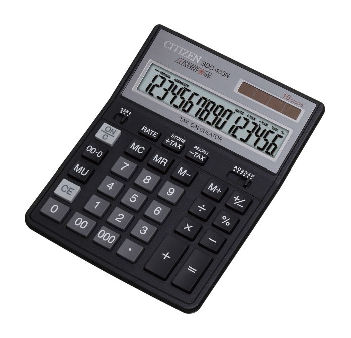 Калькулятор Citizen SDC-435N Black - двойное питание