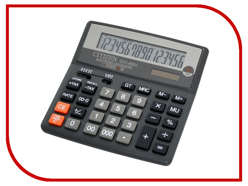 Калькулятор Citizen SDC-660II Black - двойное питание