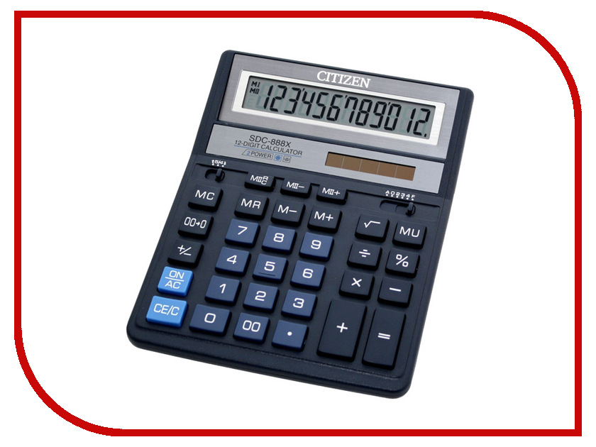 Калькулятор Citizen SDC-888XBL Blue - двойное питание