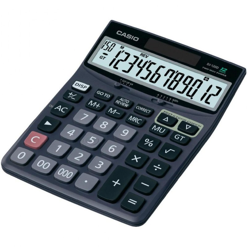 Калькулятор Casio DJ-120D Black - двойное питание